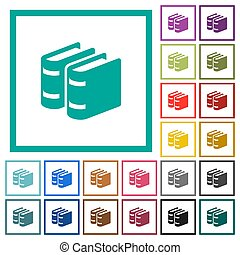 Two books flat color icons with quadrant frames on white...