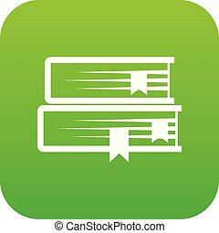 Two books icon digital green