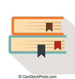 Two books icon, flat style