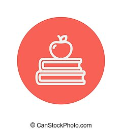 Two books with apple on the top thin line icon