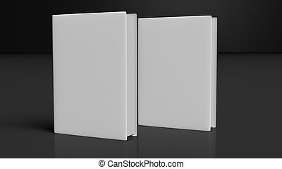 Two books with blank hardcover, isolated on black background.