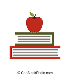 Two books with red apple icon, flat style