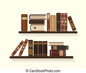 Two bookshelves with old brown books.