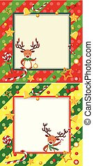 Two border templates with christmas reindeer and ornaments
