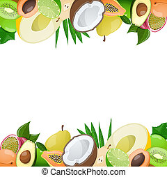 Two borders made of delicious ripe fruit. Vector illustration