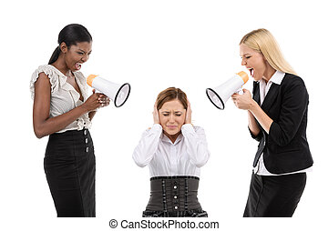 Two boss and subordinate - Two businesswoman shouting at his...