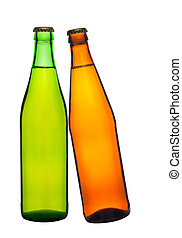 two bottle of beer isolated on white background