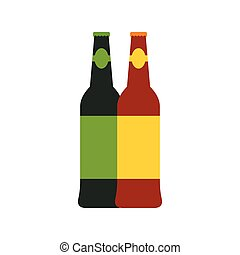 Two bottles of beer icon, flat style