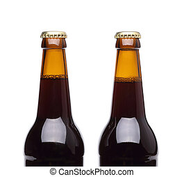 Two bottles of beer on white background.