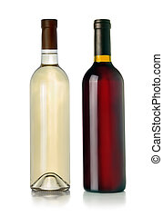 Two bottles of red and white wine