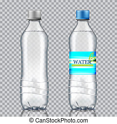 Two bottles of water on a transparent background.