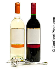 red and white wine with corkscrew