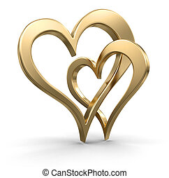 Two bound gold hearts - Two 3d bound gold hearts. White ...