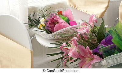 two bouquets of flowers close up