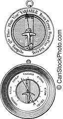 Two Bourdon barometers vintage engraving