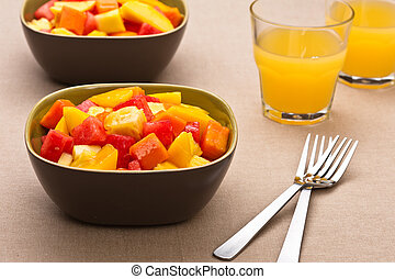 Two bowl of Mixed tropical fruit salad