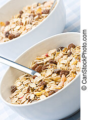 Two bowls of muesli