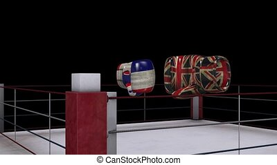two boxing gloves collide with england and french flag