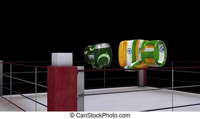 two boxing gloves collide with india and pakistan flag