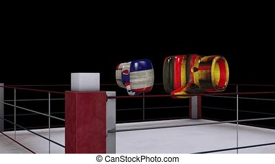 two boxing gloves collide with germany and french flag