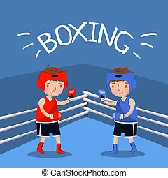 Two boy boxers fighting with gloves at the court, kids sport banner, vector Illustration