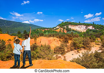 Two boys admire the magnificent nature