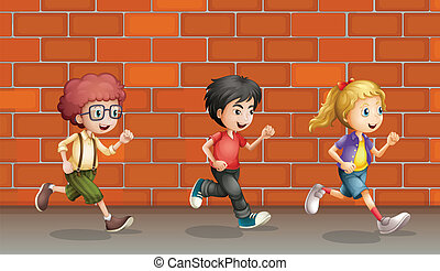 Two boys and a girl running
