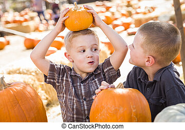 Two Boys at the Pumpkin Patch Talking and Having Fun
