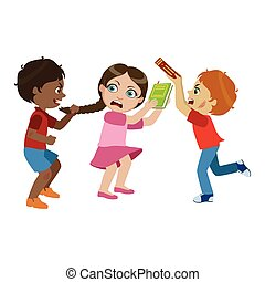 Two Boys Bullying A Girl, Part Of Bad Kids Behavior And Bullies Series Of Vector Illustrations With Characters Being Rude And Offensive