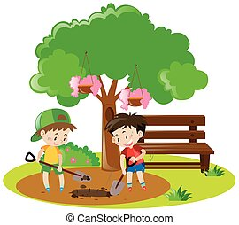 Two boys digging hole in garden
