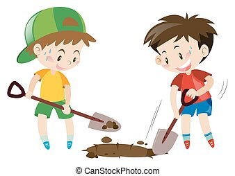 Two boys digging hole with shovels