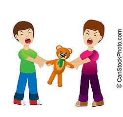 two boys divide a toy bear cry, vector illustration