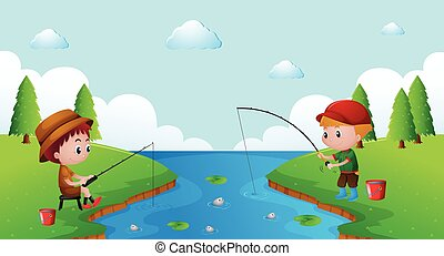 Two boys fishing in the river
