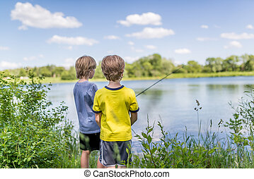 Two boys fishing on the lake