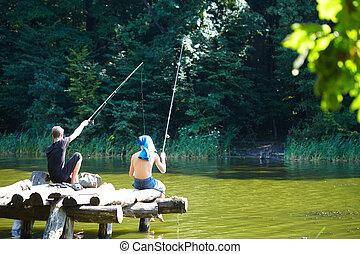 Two boys fishing on the lake