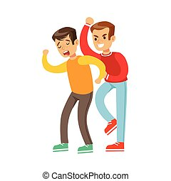 Two Boys Fist Fight Positions, Aggressive Bully In Long Sleeve Red Top Fighting Another Kid Who Is Weaker And Crying