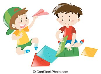 Two boys folding paper airplane
