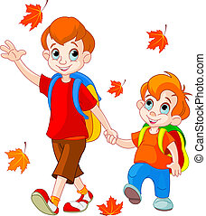 Two boys go to school - Illustration of two boys go to...