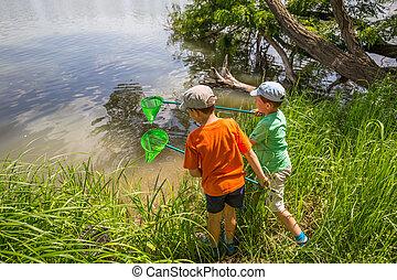 Two boys having fun