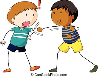 Two boys hitting and punching illustration