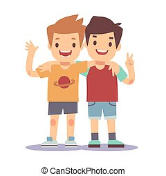 Two boys hugging, best friends, happy smiling kids vector illustration