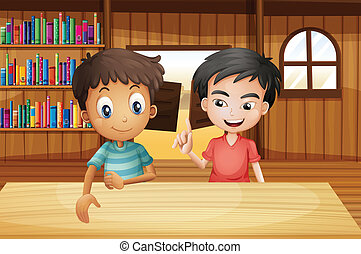 Two boys inside the saloon bar with books - Illustration of...
