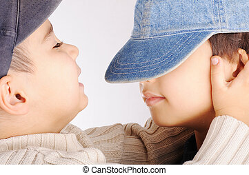 Two boys isolated, relationship