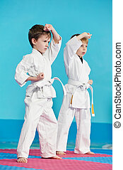 two boys training karate kata exercises at test qualification