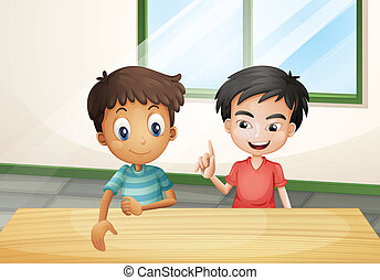 Two boys near the wooden table