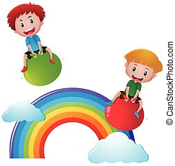 Two boys on balls over the rainbow