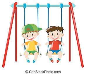 Two boys on the swings