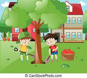Two boys planting big tree in the garden