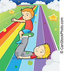 Two boys playing at the colorful road