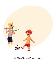 Two boys playing badminton and football at the playground